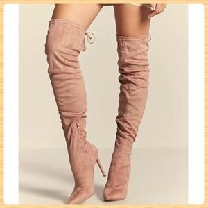 New Forever21 Suede Taupe Over The Knee Boots
